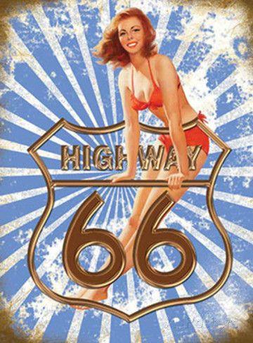 Route 66 Highway Targa in metallo