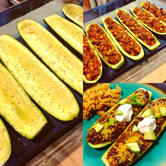 """Zucchini Boat Turkey Enchiladas - Halve and hollow out 3 zucchinis, season and bake for 20 min at 400. Sauté ground turkey (1/2 lb) and diced onion (1) until turkey is cooked. Stir in minced garlic (3 cloves), diced green chilis (1 can), black beans (1/2 c), corn (1/2 c), taco seasoning (4 T) and enchilada sauce (1 can). Fill """"boats"""" with turkey mixture, top with cheese and bake until cheese is melty. Serve warm, garnished with avocado and sour cream. 🌮"""