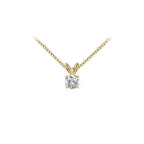 18K Yellow Gold : Prong Set Round Diamond Solitaire Pendant 0.33 CT. TDW.
