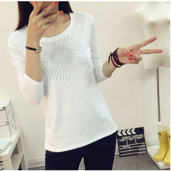 T-shirt kawaii diamond shirt women tee shirt femme camisetas mujer cotton t shirt Women clothing collar cotton long sleeve