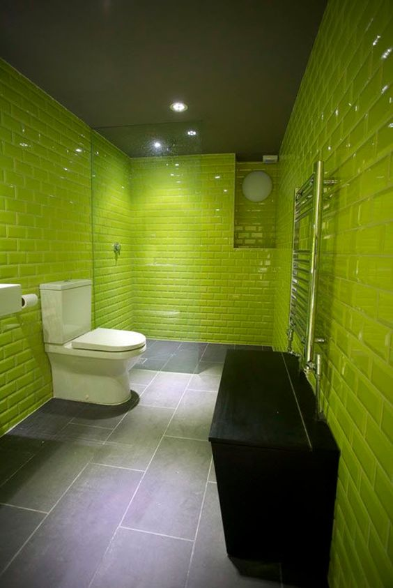 35 lime green bathroom wall tiles ideas and pictures for Lime green bathroom ideas pictures