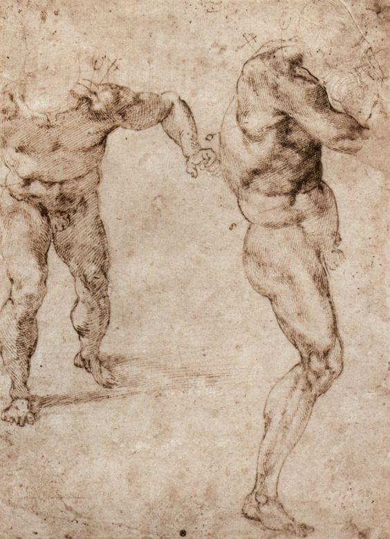 Michelangelo | Michelangelo Buonarroti: Zwei männliche Aktstudien