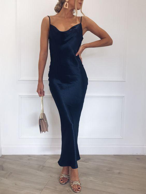 Dress Girlsimple Sheath Cowl Neck Backless Navy Blue Satin Evening Dresses Prom Slip Dress Satin Slip Dress