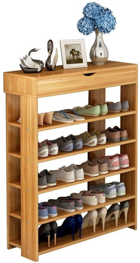 Soges 5 Tier Shoe Rack 29 5 Inches Wooden Shoe Storage Shelf Shoe Organizer Teak L24 Xtk Shoe Storage Shelf Wooden Shoe Racks Wall Shoe Rack