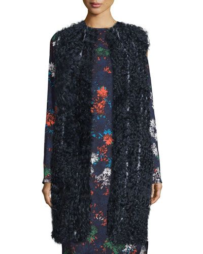 CEDRIC CHARLIER Pinstriped Shearling Fur Vest, Fantasia Blue. #cedriccharlier #cloth #