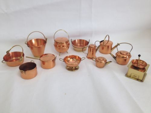 Vintage antique doll house old english kitchen miniatures copper ...