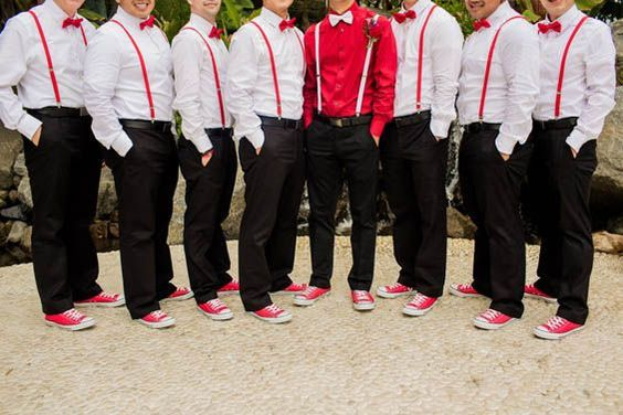 Love the suspenders and matching Converse for the groomsmen!:
