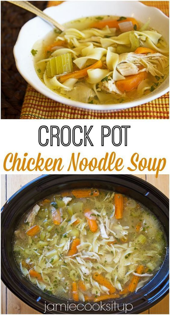 Crock Pot Chicken Noodle Soup Jamie Cooks It Up! This tasty soup couldn't be easier!