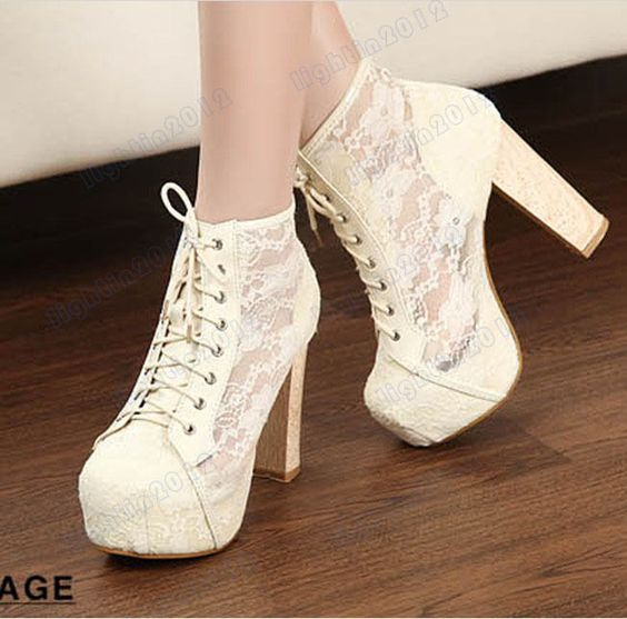New Sexy Lace-up Flower Lace Womens Shoes Pumps Chunky High Heeled ...
