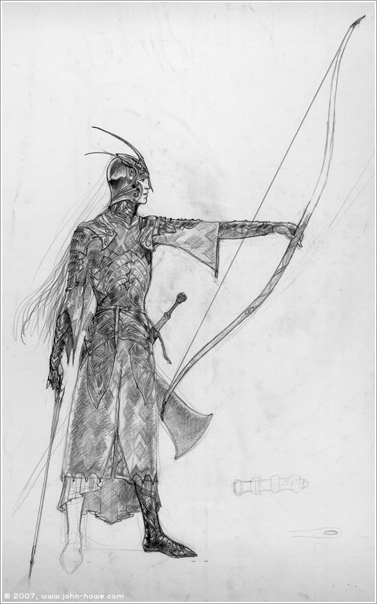 Lord of the Rings character concept art. Elf archer