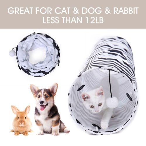 10 Dia Cat Tunnel 2 Holes Pet Toy Kitten Rabbit Play Funny Tube With Ball Cat Tunnel Pet Toys Pet Rabbit