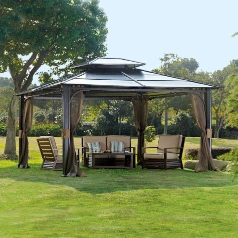 Chatham 10 X 12 Hardtop Gazebo With Netting In 2020 Hardtop Gazebo Gazebo Pergola Patio
