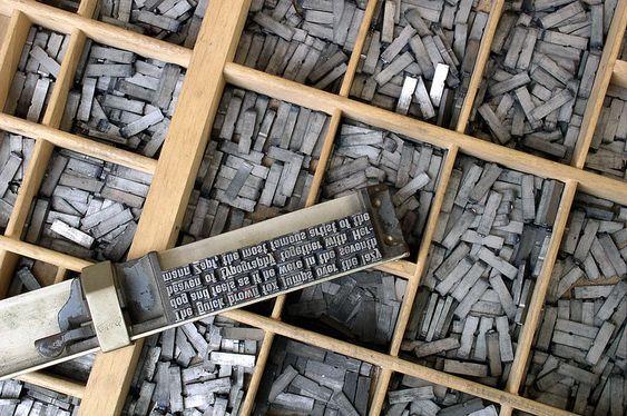 écriture et imprimerie: caractères mobiles typographiques