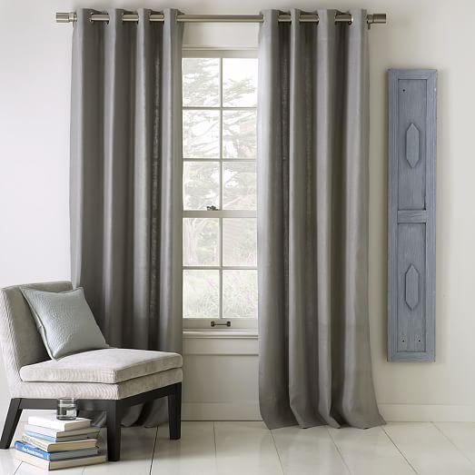 "Opaque Linen Curtain With Grommets, 96"", Platinum"