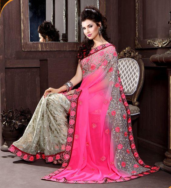 Casual Wear Good Looking Pink & Beige Color Designer #Ethnic #Saree