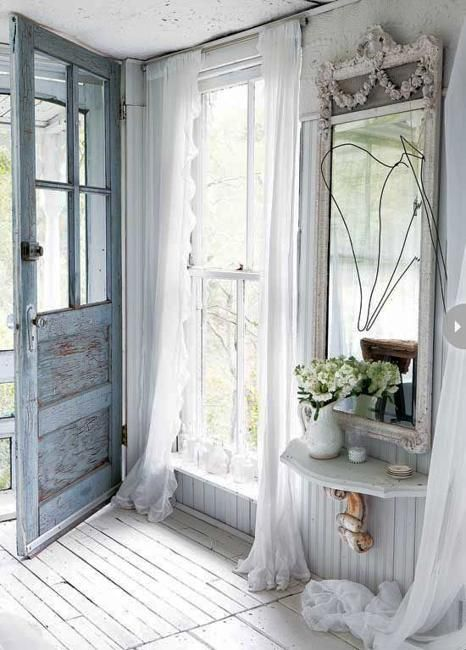 Shabby chic furniture and vintage decor create beautiful and romantic home interiors. Antiques and vintage furniture in light pale colors , combined with white decorating make living spaces feel airy and comfortable, elegant and very attractive. Classical vintage furniture and country home decoratin: