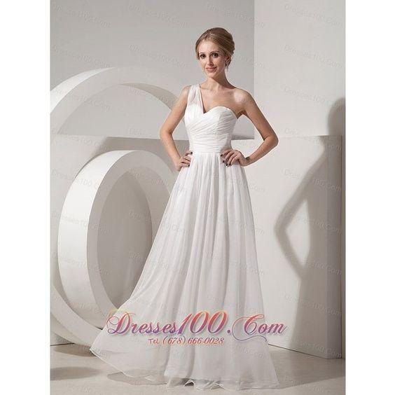 On Sale White Empire One Shoulder Beach Wedding Dress Organza Ruch... via Polyvore