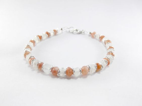 Sunstone and Moonstone Bracelet, Orange and White Gemstone Bracelet, Sun and Moon Boho Bracelet, Good Luck Bracelet, Balance Bracelet