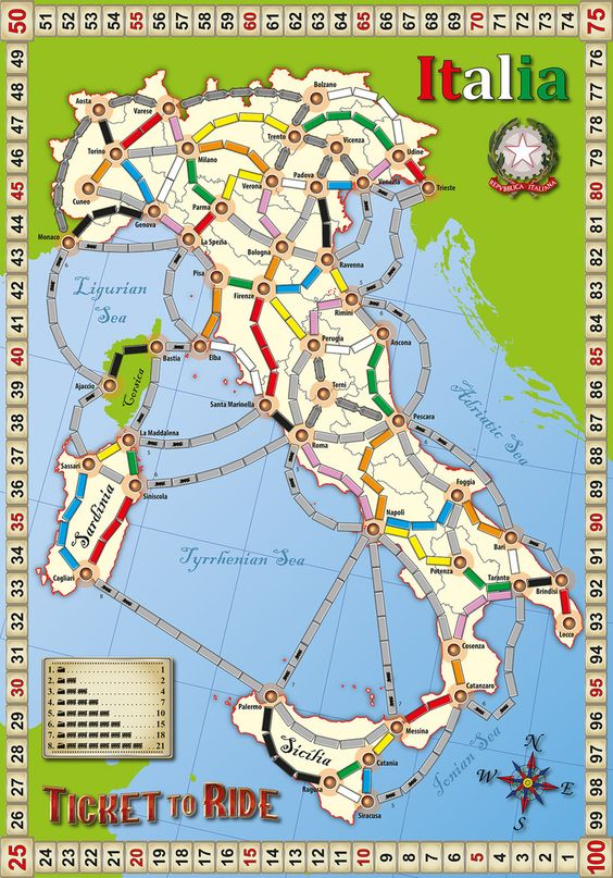 Ticket to Ride Fan Map: Italia | Board Games | Pinterest ...