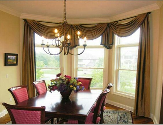 Simple scarf swag over bay window or bow window allows - Dining room curtain ideas ...