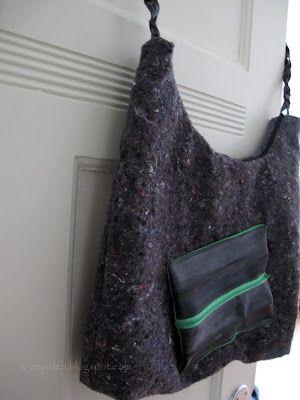 Tasche aus Malervlies mit Trageriemen und Vordertasche aus Fahrradschlauch