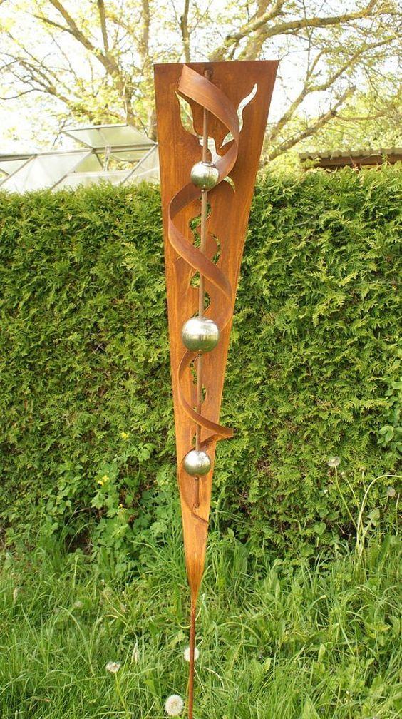 Gartendeko garten skulptur rost stecker mit von gartendekoshop24 rostiges pinterest g rten - Rost skulpturen garten ...