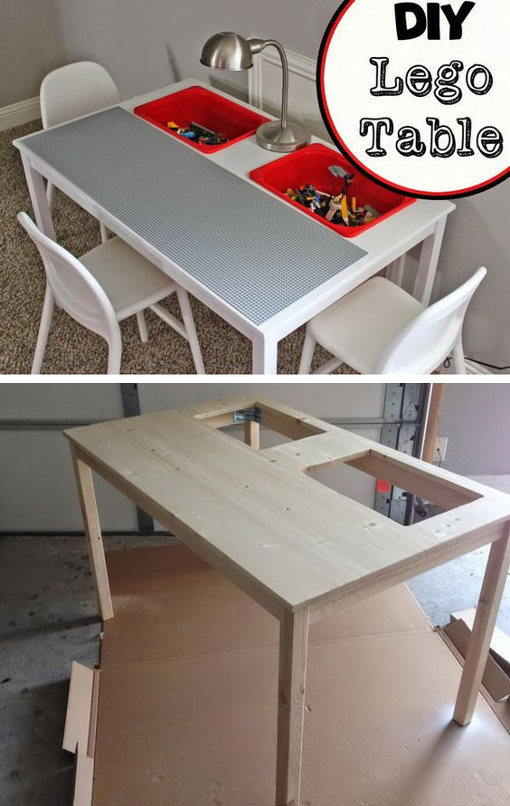 DIY Lego table made from IKEA Ingo Dining Table and IKEA Trofast buckets. http://hative.com/creative-lego-storage-ideas/