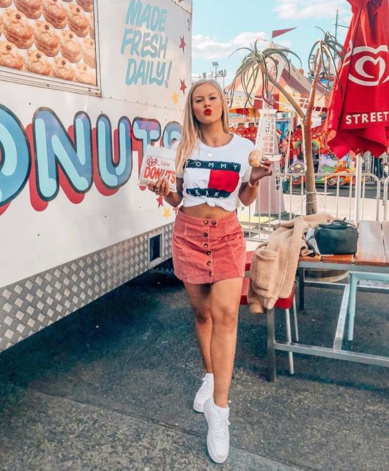Tommy Hilfiger tee with a rose colored skirt. Visit Daily Dress Me at dailydressme.com for more inspiration women's fashion 2018, summer fashion, mini skirts, t-shirts, graphic tees, casual outfits