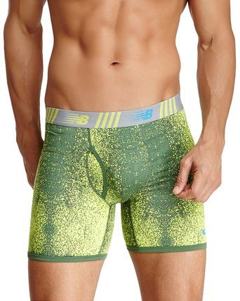 New Balance Men's athletic Active Performance Boxer Briefs Photoprint Colors in ClashLime