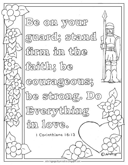 1 Corinthians 16 13 Print And Color Page Be On Your Gaurd 1