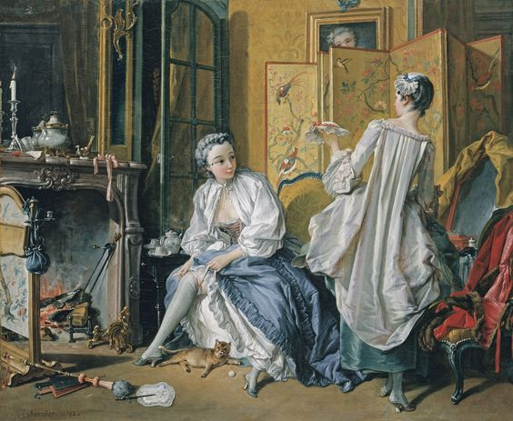 Ref. on 243: François Boucher, La modiste, 1742, oil on canvas, 52.5 x 66.5 cm (Museo Thyssen-Bornemisza, Madrid)