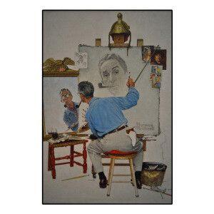 Norman Rockwell, Triple autoportrait   Méthacrylate ou panneau photo