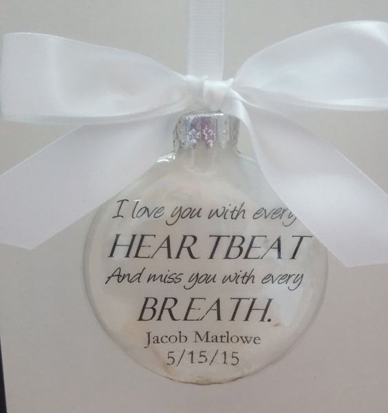 Memorial Ornament In Memory Sympathy Gift Personalized- filled with white feathers