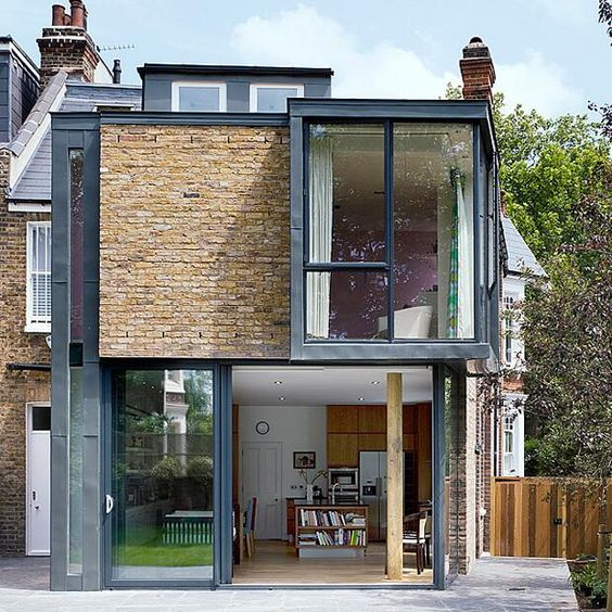 A contemporary two storey brick extension to an historic for Double storey victorian homes