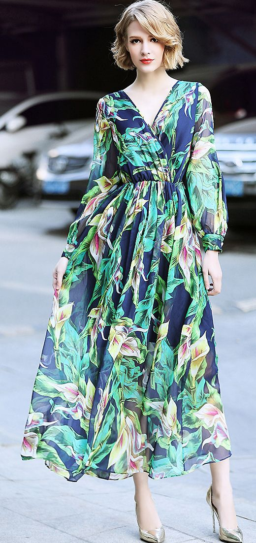 Fashion V-Neck Long Sleeve Floral Print Maxi Dress