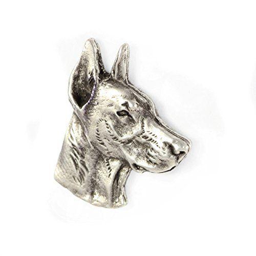 Doberman Brooch Silver Plated