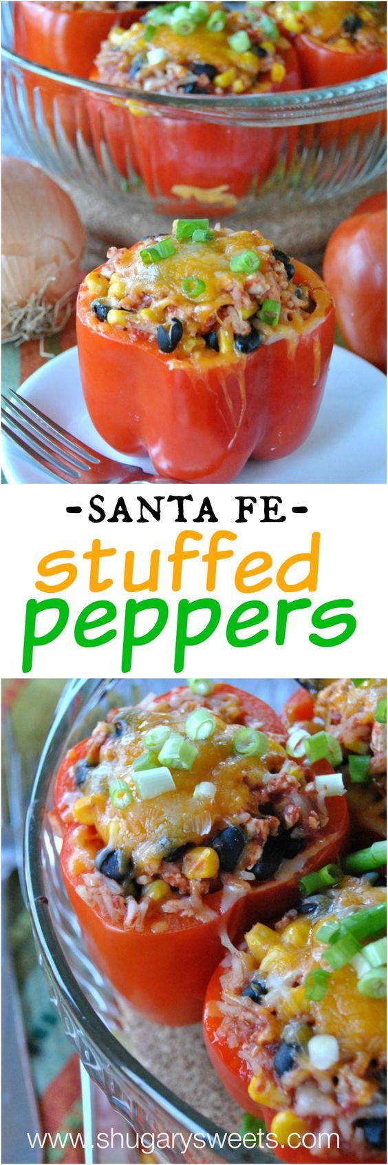 Santa Fe Stuffed Peppers | Recipe | Jasmine rice, Sweet corn and Red ...