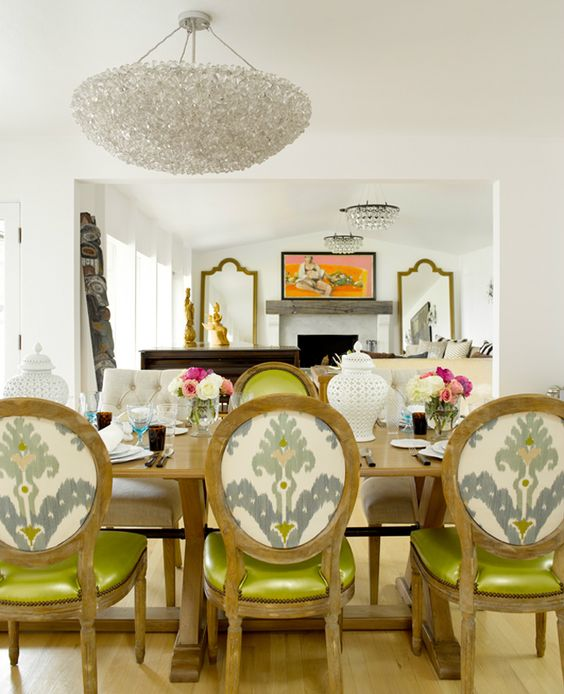 .: Dining Rooms, Interior Design, Dining Chairs, Diningroom, Light Fixture, Ikat Chair, Dining Room Chairs