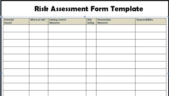 Risk Assessment Form Templates in WORD Excel Biz education - risk assessment form
