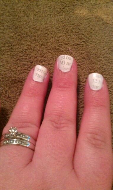 Newspaper nails ... Uploaded with Pinterest Android app. Get it here: http://bit.ly/w38r4m