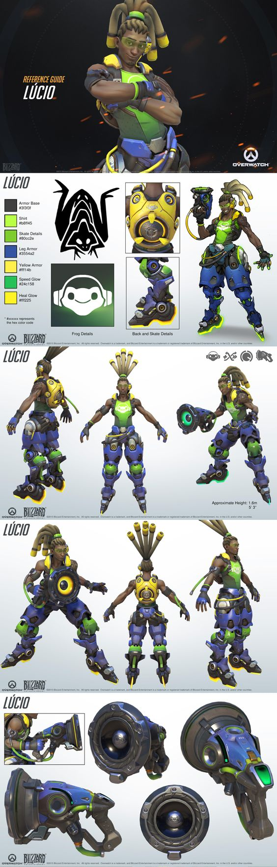 Character Design Chart : Lucio reference guide overwatch pinterest design