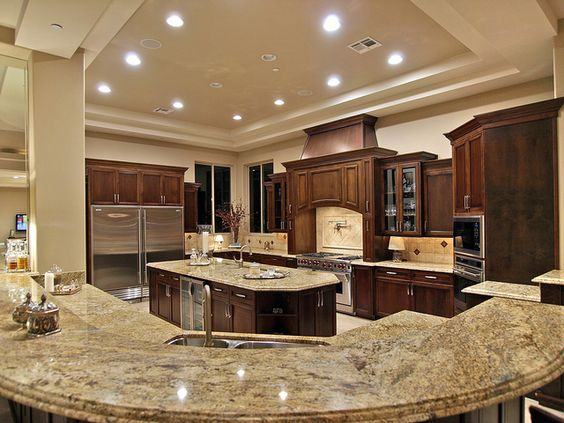 Kitchens beautiful kitchens and light walls on pinterest - Home plans with large kitchens ...