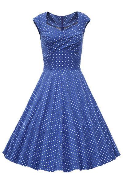 Sweetheart Collar Polka Dot Ruffle Short Sleeve Dress LIGHT BLUE: Casual Dresses | ZAFUL