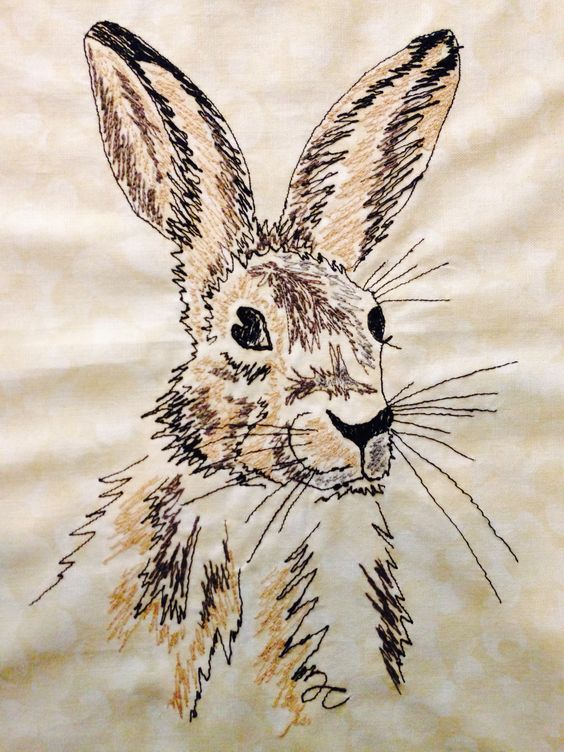 Machine embroidery - Hare | Made by Me | Pinterest