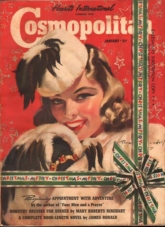 "Cosmopolitan magazine, JANUARY 1940 Artist: ""With Best Wishes"" Bradshaw Crandell:"
