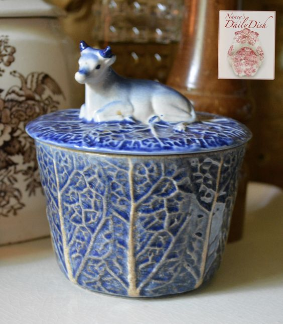 "Vintage Blue Majolica Butter Tub w/ Cow Lid ""How the Cow Ate the Cabba"