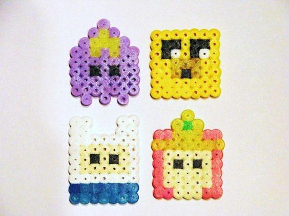 8-Bit Adventure Time Magnet Set /  Perler Bead Magnet Set / Adventure Time with Jake and Finn / Kawaii Perler Beads. $5.00, via Etsy.