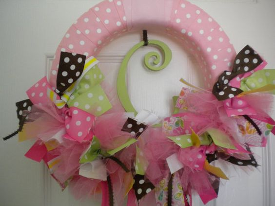 baby girl ribbon wreath for in pinks, greens, and browns with tulle. perfect for hospital door, nursery or baby shower.