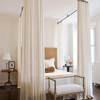 Curtains Ideas attach curtain rod to ceiling : DIY four-poster bed: attach curtain rods to ceiling, slide on your ...