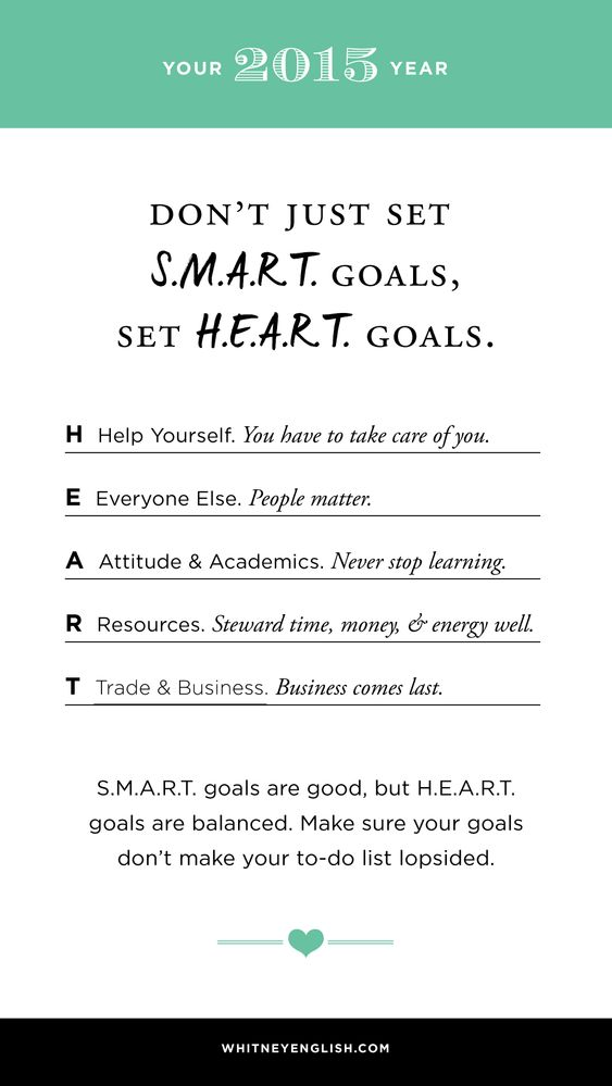 Set H.E.A.R.T. goals, not S.M.A.R.T. goals. From @whitneyenglish